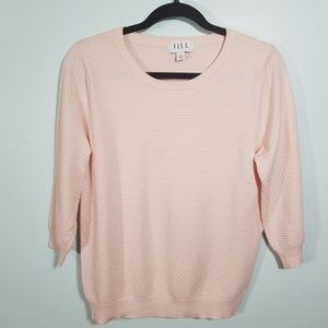 ELLE Blush Pink Waffle Knit 3/4 Sleeve Top